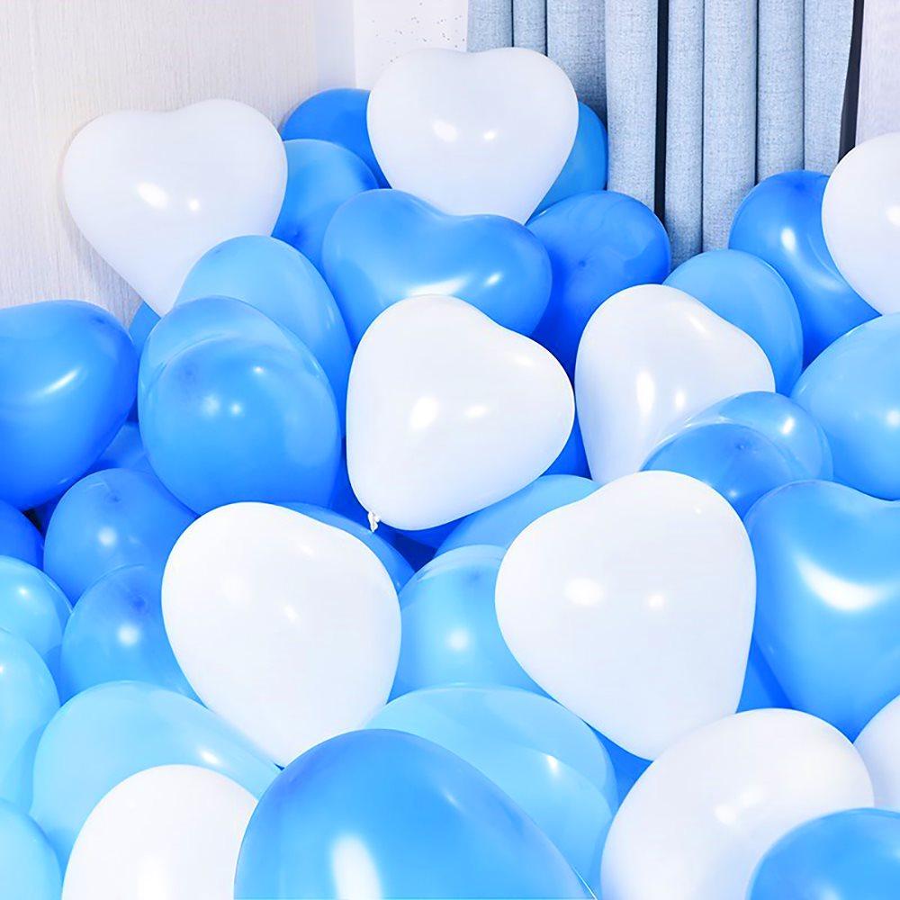 【送料無料】ハート型 バルーン 風船 バルーン飾り付け バースデーパーティー 誕生日 結婚式 アニバーサリー 二次会 30個入り (ホワイト×ブルー×ライトブルー)