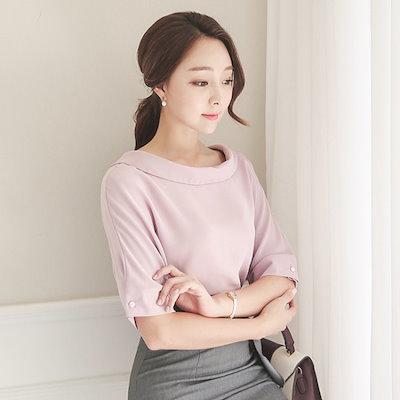 オッドBLI240ポルドゥネク、晋州チンジュボタン、半そでブラウス ルーズフィット/ロングシャツ/ブラウス/ 韓国ファッション