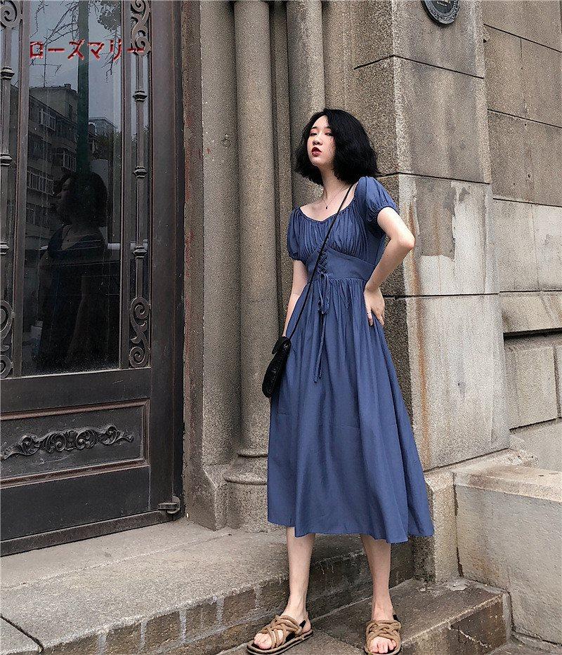 ローズマリー 韓国ファッション 売れ筋の商品 半袖ワンピース ロングワンピース 大人気 着やせ効果抜群♪ 202004035