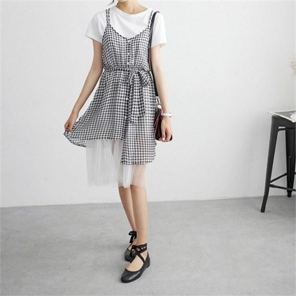 hlr07のジョエル・チェックレイヤードワンピースセット基本ティーチェックnewsrcLangTypeko 女性ニット/カーディガン/韓国ファッション