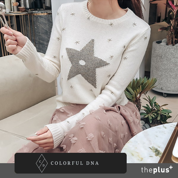 【新作】スターニットTシャツ/刺繍/韓国ファッション/カワイイトップス