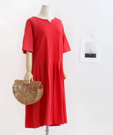 シンプルなルーズフィットピンタックプリーツフレアロングワンピース30418デイリールックkorea women fashion style
