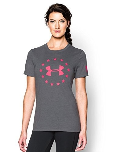 Under Armour Womens Freedom Logo Short Sleeve Tee, Graphite, Large