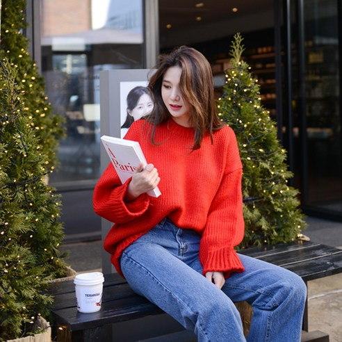 さらにムードL142トミーレッドニットkorean fashion style