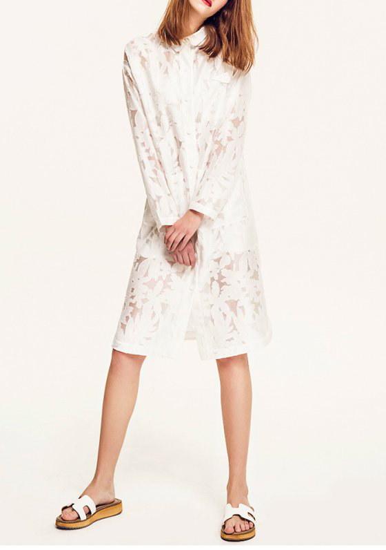 レディー女性シャツカラーホワイト膝丈ワンピースドレス 結婚式 パーティーに