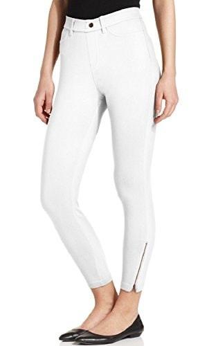 Hue Womens Khaki Skimmer with Side Zipper, White, Small