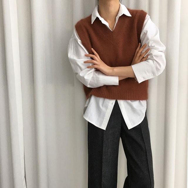 [ラルム】アンゴラVベスト3col korea fashion style