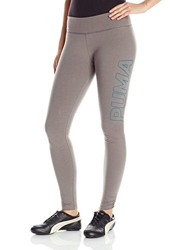 PUMA Womens Logo Legging, Steel Gray/Colonial Blue, Small