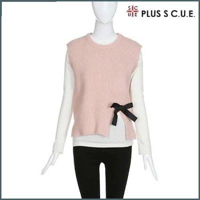 [プラスエスキュ][ハーフクラブ/プラスエスキュ]リボンのスリットベスト(LT1VK02) /ニット/セーター/ニット/韓国ファッション