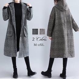 【高品質素材】韓国ファッション 千鳥チェックロングコート フェイク ウールコート高品質 新しいデザイン ロング トレンチコート 帽子付  気質拔群    M-2XL