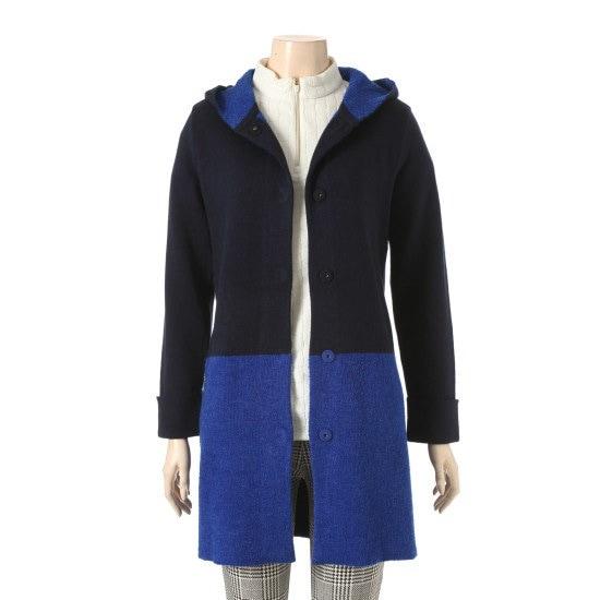 のクロコダイル・レディーアウター兄カラー配色フードカディゴンCL7WSW109 ニット/セーター/ニット/韓国ファッション
