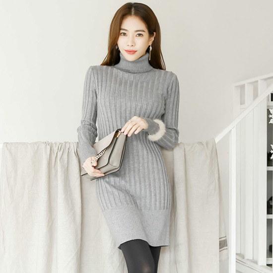ホワイト・フォックスハイネックのスリムワイドゴルジニット・ワンピース 一(チェイル)毛織/・ツイードワンピース/ 韓国ファッション