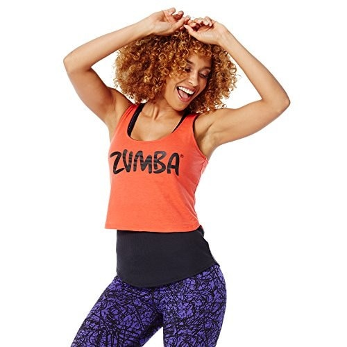 Zumba Fitness Womens Love My Layered Loose Tank Top, Rev Me Up Red, Large