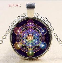 メタトロンキューブペンダント ネックレス 聖なる 幾何学模様 花 生活ジュエリー チャクラ精神的なネックレス
