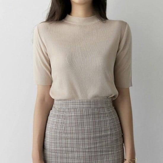 [アップタウンホリック]タウンホリックデー5部knit(5color)[基本ニット/半袖ニット/ラウンドネック/スルー ニット/セーター/ニット/韓国ファッション