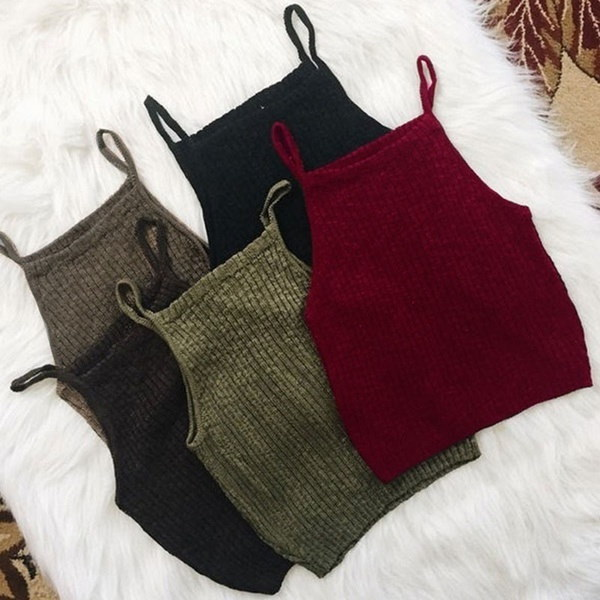 Hot Sale Hot Selling New Women Crop Top Sexy Fashion Solid Knitted Vest Sleeveless Tank Tops Cropped