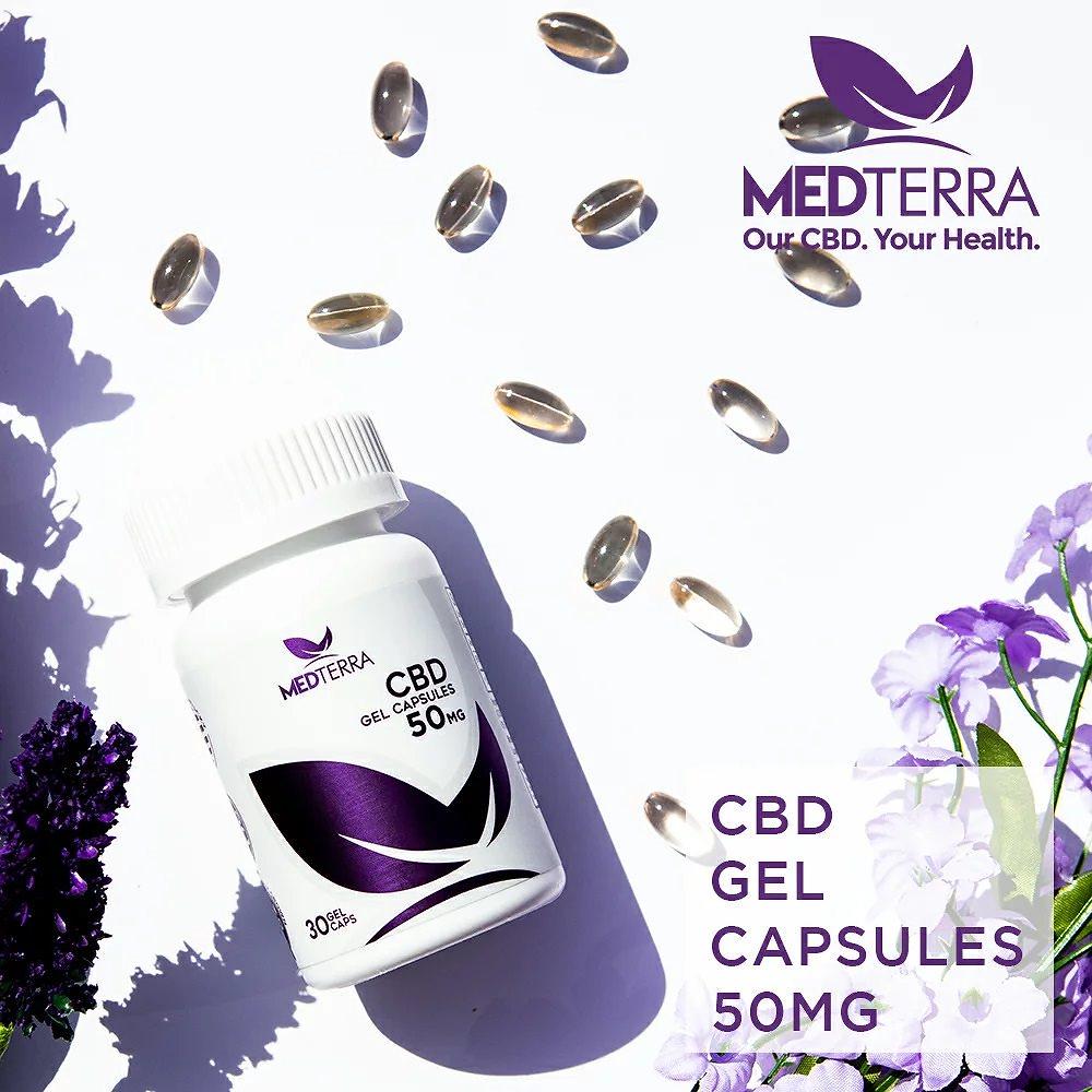 Medterra アメリカケンタッキー州の非遺伝子組換えヘンプ(Hemp)使用! CBDオイルカプセル50mg 100%ナチュラル99%pureCBD CBDオイル