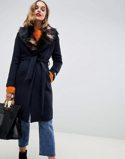 ジャンニ フェロー レディース コート アウター Gianni Feraud duster coat with faux fur collar