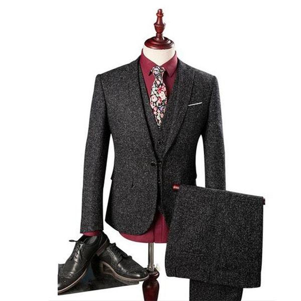 2017新作 ビジネススーツ 3ピーススーツ メンズ スリーピーススーツ スーツセット セットアップ 1つボタン ベスト付き 細身 紳士服