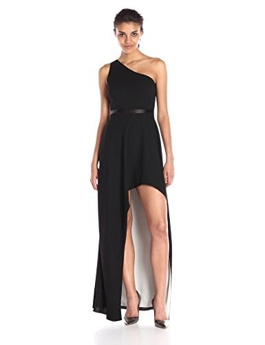 HALSTON HERITAGE Womens One Shoulder Asymmetric Neck Gown with Hi-Lo Skirt, Black/Bone, 4