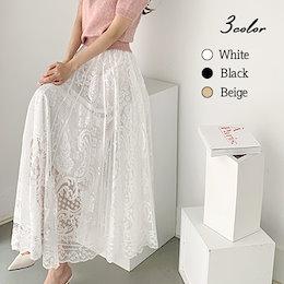 ✨DRESSCAFE✨[韓国ファッション] ♥ Limited item!♥ (3color) アンティークバンドレーススカート