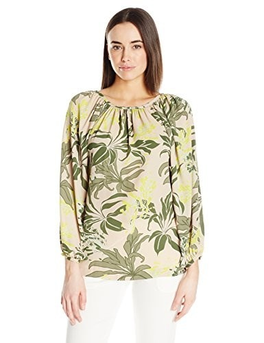 Vince Camuto Womens L/S Wildflower Bloom Shirred Neck Blouse, Sand Dune, Large