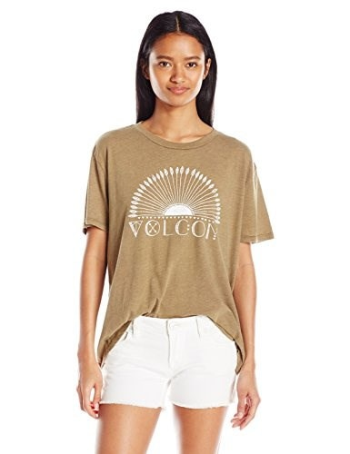 Volcom Juniors Sunrise Basic Army Graphic Tee, X-Large