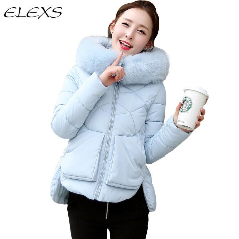 Elexs Cotton-パッド入りの厚みの冬の女性のコートビッグ毛皮のフード付きのかわいいデザイン冬のコットンダウンジャケットTsp0857
