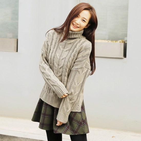 ディエイス、ライラ開けたポーラ・ウール・ニット ニット/セーター/タートルネック/ポーラーニット/韓国ファッション