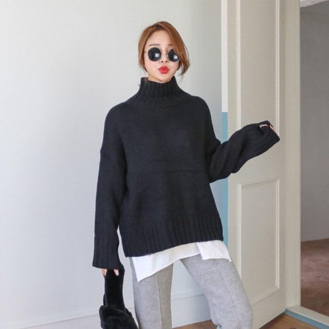ももルーズフィット首ポーラニットティーデイリールックデイリーバックkorea women fashion style