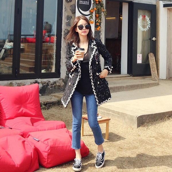 ココ・ツイードロングジャケットnew 女性のジャケット / 韓国ファッション/ジャケット/秋冬/レディース/ハーフ/ロング/