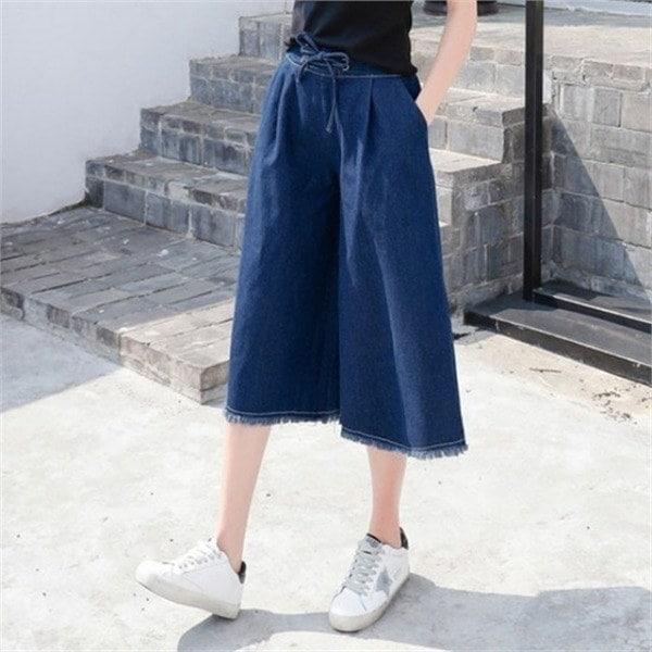 hlr07のデニムストリング・ワイド・パンツのデニムワイド・パンツあnewsrcLangTypeko 女性ニット/カーディガン/韓国ファッション