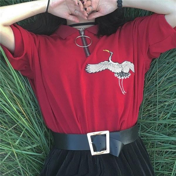 新しい到着春と夏のポロTシャツヴィンテージスタイルのクレーン刺繍リングジッパー半袖