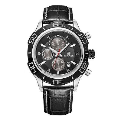 MEGIR新スタイルメンズクロノグラフルミナスクォーツ腕時計ファッションメンズアナログラウンドシャイニーダイヤルトップB