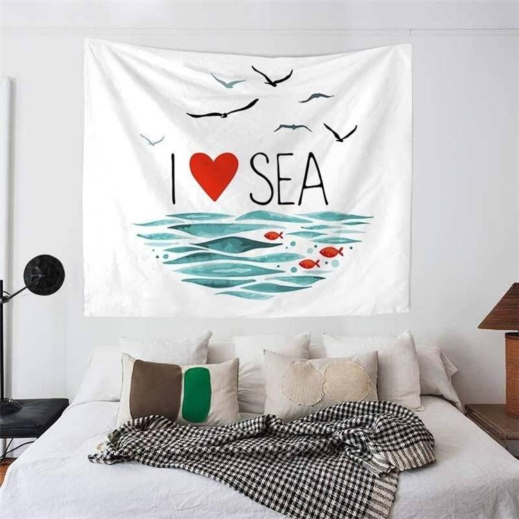 I Love Seaウォールフラッグ/ガーランド/ビーチマット/タペストリー/テーブルクロス/レジャーシート/インテリア/ファブリックポスター/キッズルーム/ベビールーム/プレゼント【G808】