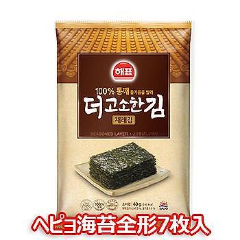 ヘピョ 海苔 全形 7枚入 お弁当用 韓国 のり 味付海苔 ふりかけ おつまみ ご飯のお供 香ばしい ゴマ油